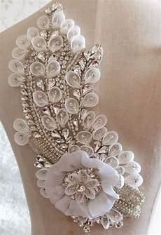 gorgeous rhinestone applique with 3d chiffon