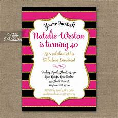 Pink Party Invitations Pink Black Amp Gold Birthday Invitations Nifty Printables