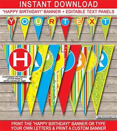 Colorful Happy Birthday Banner Colorful Pennant Banner Template Happy Birthday Bunting