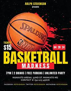 Basketball Flyer Free Basketball Madness Flyer Template In Adobe Photoshop