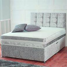 crushed velvet divan bed with bed storage