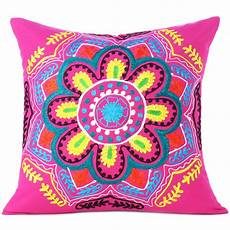 pink yellow embroidered colorful decorative sofa throw