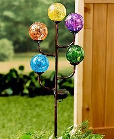 Solar Powered Stake Lights Solar Powered 5 Light Colorful Glass Globes Garden Yard