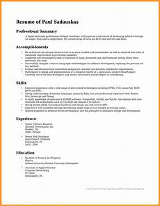 Example Professional Summary 12 13 Sample Professional Summary Statements