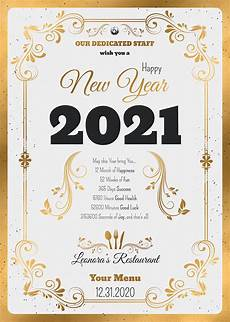 New Years Template New Year Menu Template Psd To Customize With Photoshop