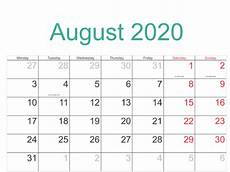 August 2020 Calendar With Holidays August 2020 Calendar With Holidays August Calendar
