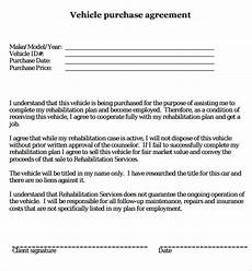 Purchase Agreement For Vehicle Free 17 Sample Vehicle Purchase Agreement Templates In