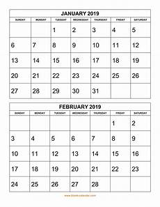 Two Month Calendar 2020 Free Download Printable Calendar 2019 2 Months Per Page
