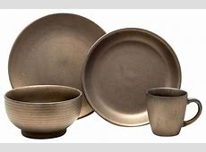 Teton 16 Piece Dinnerware Set, Rubbed Gold   Modern