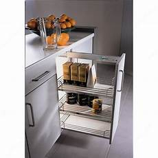 chrome and gray basket sliding system for base cabinets