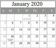 Calendar 2020 For Word Free January 2020 Calendar Templates Pdf Excel Word