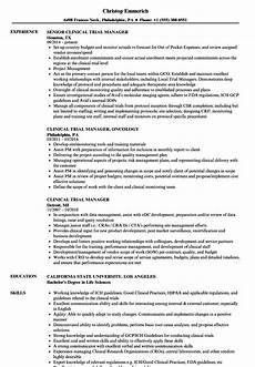 Clinical Data Manager Resumes Clinical Trial Manager Resume Samples Velvet Jobs