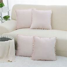 pack of 4 throw pillow cover with balls decorative velvet