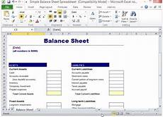 Balance Sheet Excel Simple Balance Sheet Template For Excel
