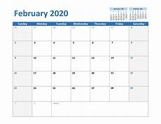 February 2020 Calendar Template Excel Free February 2020 Printable Calendar Templates In Pdf