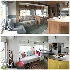 before and after fifth wheel renovation remodeled