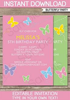 Free Editable Invitation Templates Butterfly Party Invitations Template Birthday Party