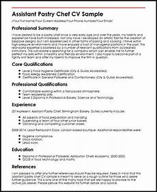 Pastry Chef Resume Example Assistant Pastry Chef Cv Example Myperfectcv