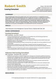 Leasing Specialist Resume Leasing Consultant Resume Samples Qwikresume