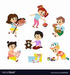 Playing Kids Cartoon Cartoon Kids Playing With Toys
