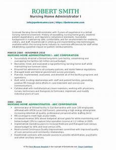 Nursing Administrator Resume Nursing Home Administrator Resume Samples Qwikresume