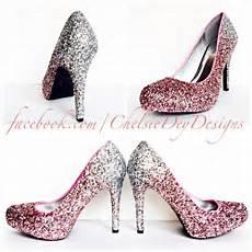 Light Pink Sparkly Heels Glitter High Heels Silver Pink Pumps Light Pink Silver