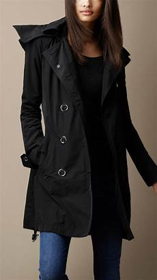 burberry hooded taffeta trench coat in black lyst