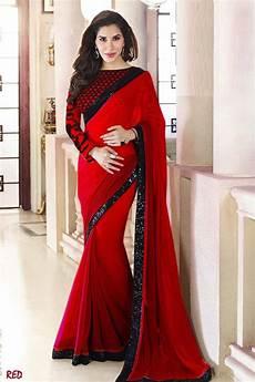 Black Georgette Designer Saree Buy Red Plain Georgette Designer Saree With Blouse Online