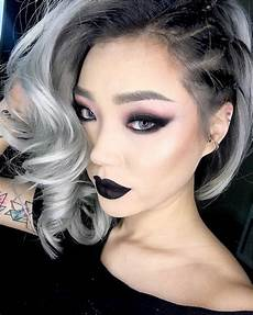 silver hair color black lipstick and side