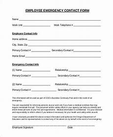 Employment Contact Form Free 8 Sample Employee Emergency Contact Forms In Pdf