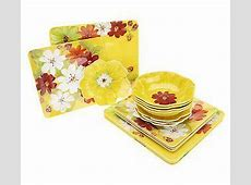 Laurie Gates Floral 16 pc. Square Outdoor Dinnerware Set