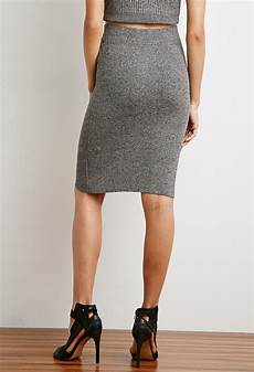 forever 21 marled rib knit pencil skirt in gray lyst