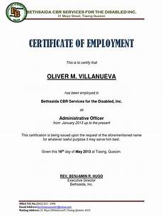 Company Certification Sample Certificate Of Employment Sample Docx