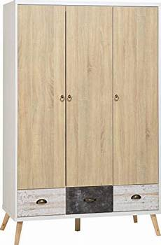 seconique nordic 3 door 3 drawer wardrobe white