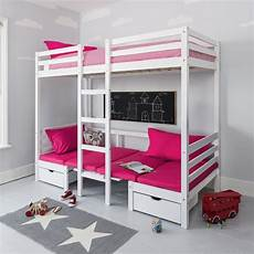 max bunk bed with table sleep centre pink cushions