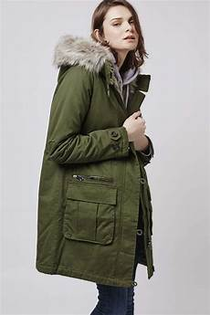 parka coats topshop padded parka jacket in green lyst