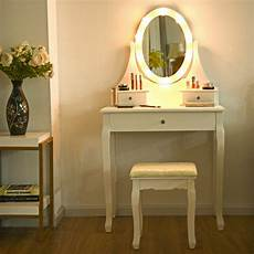 3 drawers vanity makeup dressing table stool set lighted
