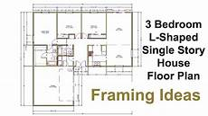 three bedroom floor plan for l shaped house framing