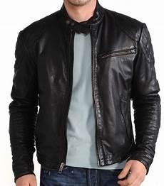 new mens leather jacket black slim fit biker motorcycle