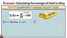Gold Percentage Chart How To Calculate The Percentage Of Gold And Percentage Of