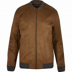 Light Brown Suede Jacket Mens River Island Light Brown Faux Suede Bomber Jacket In Brown