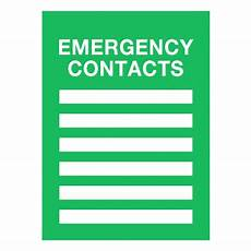 Emergency Contact Sign Emergency Action Plan Insert Frame Sign From Seton Com