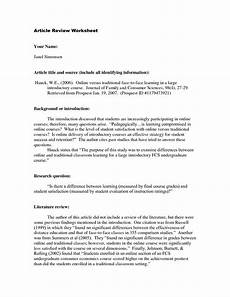 Apa Summary Example How To Do An Article Review In Apa Format How To Write A