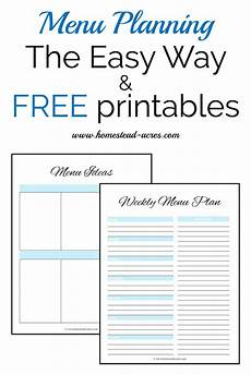 Menu Planner Forms How To Make A Weekly Meal Plan The Easy Way Homestead Acres