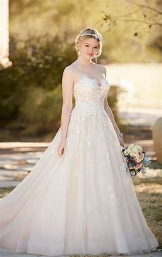 gown wedding dress with tulle skirt essense of