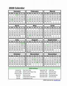 Printable Yearly Calendar 2015 2020 Printable Employee Vacation Calendar 2020 Example