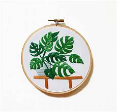 modern hoop monstera plant in pot embroidered house