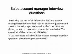 Interview Questions Account Manager Sales Account Manager Interview Questions