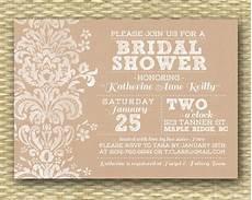 rustic bridal shower invitation kraft bridal shower bridal shower invitation rustic kraft damask lace shabby