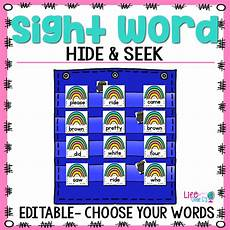 Sight Words Pocket Chart Sight Word Hide Amp Seek Pocket Chart Cards Rainbow Theme